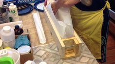 Lining a Standard Wood Log Soap Mold w/freezer paper - YouTube