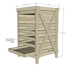 Food Storage Shelf plans from Ana White (for the airing cupboard) Food Storage Shelves, Produce Storage, Food Shelf, Fruit Storage, Storage Beds, Lego Storage, Fabric Storage, Diy Furniture Plans, Pallet Furniture