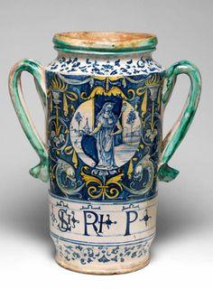 Two-handled pharmacy jar, Italian c.1510-30. © The Fitzwilliam Museum, Cambridgehttp://www.fitzmuseum.cam.ac.uk/gallery/treasuredpossessions/discover/20.html