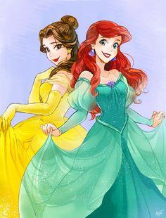 Disney Princesses- Belle and Ariel Walt Disney, Disney Nerd, Disney Fan Art, Cute Disney, Disney Dream, Disney Girls, Disney Rapunzel, Disney Cartoons, Disney Movies