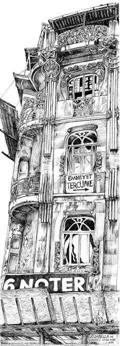 Grizabella In Sirkeci. Signed limited edition print of original drawing of dilapidated Art Nouveau building in Istanbul, Turkey.