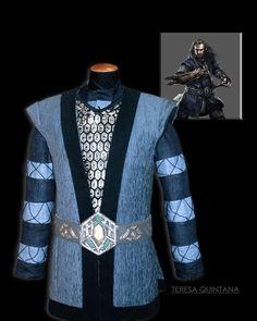 """Camisa de lino con mangas encordadas y sobrecota en terciopelo. Inspirado en el personaje de """"Thorin escudo de Roble"""""""