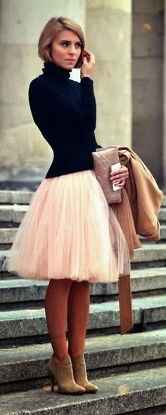 Adorable turtleneck sweater and mini skirt fashion