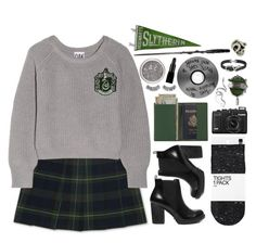 """""""Slytherin"""" by organicguacamole ❤ liked on Polyvore featuring French Toast, Oak, H&M, Steve Madden, Royce Leather, Rimini, John Hardy, Macabre Gadgets, Bling Jewelry and harrypotter"""