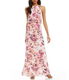 Alex Marie Hannah Hatler Neck Sleeveless Floral Print Dress