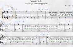 Selena Gomez — Vulnerable Piano Sheets Music PDF Free Easy