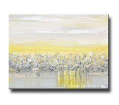 """""""Light and Peace"""" Canvas Print Yellow Grey Abstract Painting Modern Palette Knife Fine Art Contemporary Coastal Beach wall art home decor gray white gold urban"""