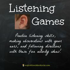Listening Games - practice listening skills, making observations with your ears, and following directions with these fun activity ideas!
