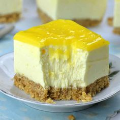 Dessert Recipes 11285 lemon baking cheesecake, a delicious pie for your dessert. here is how to make lemon cheesecake without baking easily at home. No Bake Lemon Cheesecake, Cheesecake Desserts, Cheesecake Squares, Summer Dessert Recipes, Easy No Bake Desserts, Baking Desserts, Health Desserts, Holiday Recipes, Curd Recipe