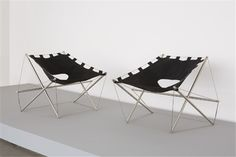 JACQUES HENRI VARISHON Pair of chairs, ca. 1970  Brushed steel rod, chrome-plated metal, steel cable, canvas (2). Each: 28 3/4 in. (73 cm) high