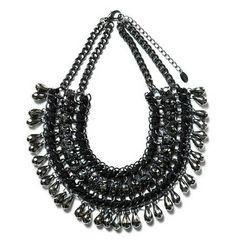 de alta calidad de moda 2014 multicapas de joyería de la cadena negro babero declaración gargantilla