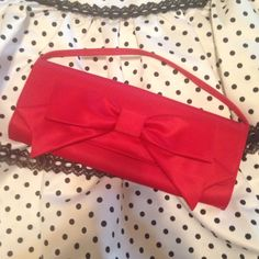 Hollywould For Target Red Satin-Like Bow Clutch