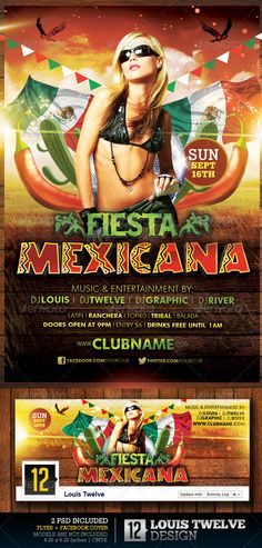 "Fiesta Mexicana | Flyer + Facebook Timeline Cover  #GraphicRiver        More Mexican Flyers  Fiesta Mexicana | Flyer + Facebook Timeliine Cover 	 About: This flyer is perfect for your Fiesta Mexicana   	 Features:  2 PSD Files  Sizes: 4.25""x6.25"" /// 851×315 px  Resoultion: High Quality 300DPI  CMYK and RGB color (RGB the facebook timeline cover)  Print Ready! Includes Bleeds  Easy, Fast and Simple to modify  Highly Organised Layers  All Elements  	 *Photos of models are not included in the…"