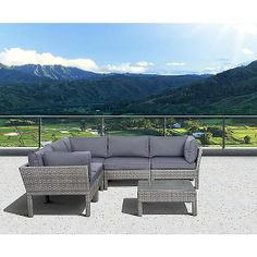Atlantic St.Croix 6 pc Grey Synthetic Wicker Patio Seating Set with Grey Cushions