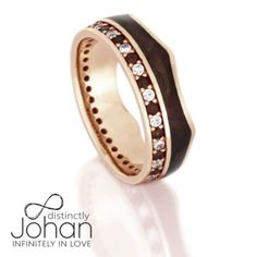 Crown Ring, Gemstone Eternity Wedding Band in 14k Rose Gold With Wood-DJ1020RG