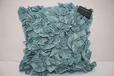 NEW Cynthia Rowley Decorative Ruffled Pillow AQUA