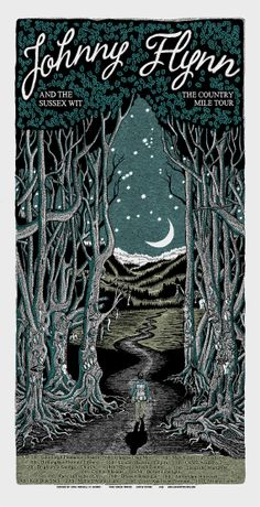 Limited edition silk screen print by Chris Hopewell for Johnny Flynn's Country Mile tour