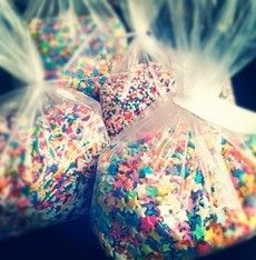 These sprinkles would be such a pretty and cute alternative to throwing rice as the couple comes out of the church! It's pretty cheap to, and the sugar would disintegrate if you can't sweep them up. ~A