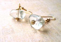 Pale Green Earrings, Aqua Beads, Gold, Delicate, Bridal Jewellery by Phoebe dreams