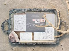 Gray calligraphy wedding invitation suite | Kyle John Photography | see more on: http://burnettsboards.com/2014/07/poetic-ocean-themed-bridal-editorial/