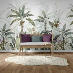 Our art wall mural features a tropical scene with palms, leaves and orchids. It is a unique work of art transforming your home into a tropical paradise. You can choose our Jungle – plant wallpaper mural that suits this wall mural to achieve full harmony. Palm Leaf Wallpaper, Plant Wallpaper, Kids Wallpaper, Pattern Wallpaper, Tropical Paradise, Tropical Leaves, Types Of Art, Wall Murals, Wall Decal