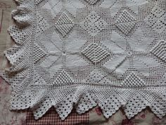 Antique hand crocheted bedspread afghan by MyFrenchAntiqueShop, $84.99