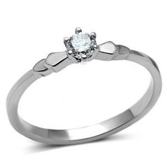 CJG1092 Wholesale Clear Solitare AAA Grade CZ High Polished Stainless Steel Women's Fashion Ring - Promise Rings - Rings
