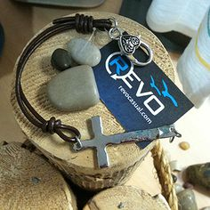 sundance collection - handmade silver cross and leather bracelet with heart clasp