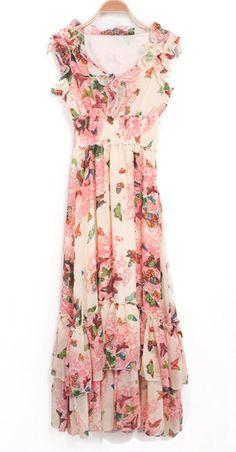 Light Pink Frill V-neck Butterfly Florals Chiffon Maxi Dress - Sheinside.com