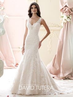 Sleeveless tulle and hand-beaded corded lace over luxurious satin fit and flare dress, beadedV-neckline and lace straps, beadeddeepplunging scoop back, dropped waistline, scalloped hemline, chapel length train. Sizes: 0 – 20, 18W – 26W
