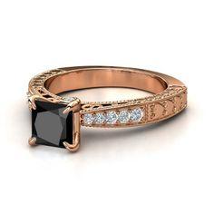 Princess Black Diamond 14K Rose Gold Ring with Diamond - lay_down