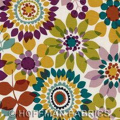 Summers End - Napa - Hoffman Fabrics - Designer Cotton Quilt Fabric - Floral, Green, Turquoise, Rust, Lavender