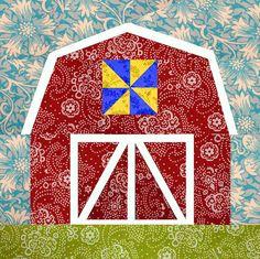 Barn quilt block, paper pieced quilt pattern, PDF pattern, instant download, barn pattern