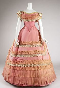 Ball gown Date: ca. 1868 Culture: French Medium: silk Accession Number: C.I.69.14.1a, b