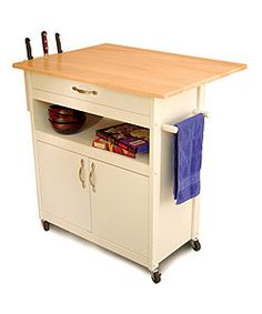 White Base Kitchen Cart with Natural Top - Overstock™ Shopping - Big Discounts on Catskill Craftsman Butcher Blocks