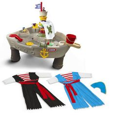 little tykes water table pirate ship with 2 costumes. Kids Outdoor Furniture, Outdoor Toys, Pirate Theme, Pirate Party, Ship Craft, I Love Mommy, Sand Table, Little Tykes, Halloween Crafts For Kids