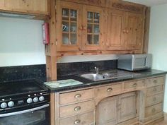 Solid Pine Free Standing Base Kitchen Cupboard & Top Units, Sink, Extractor Fan