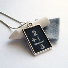 Chalkboard Necklace Blackboard Pendant on Snake Chain with White Chalk and Eraser Back to School - Scribbles