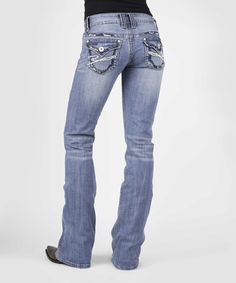 Light Blue Flap-Pocket Bootcut Jeans - Plus Too