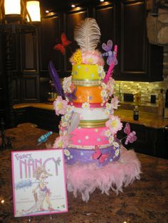 "Fancy Nancy Birthday Cake - This is a cake I made for my daughter's 4th birthday.  It is based off of the children's book ""Fancy Nancy"".  It was REALLY ugly at first.  But, in the end, it came together.  Thanks for looking!"