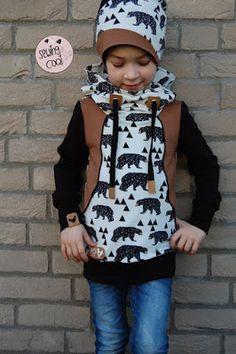 Hoodie - Pullover - Schnittmuster Mini Jessi von Coemi - Nähen - Jungs - Sweat Bären Bear von Alles für Selbermacher - Mütze Freebook Wendebeanie Beanie Zuckerhut von Zuckerwolkenfabrik