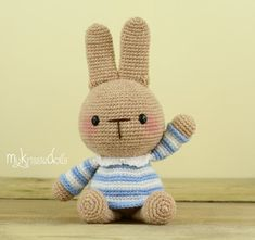 This is a crochet pattern (PDF file) NOT a finished doll you see on the photos! This pattern is available in Dutch and English (German coming soon)    Let me introduce to you: My Little Rabbit!!    My Little Rabbit is made with sockyarn and with this yarn she turns out at a size of 16 cm (including the ears). If you are working with cotton yarn she turns out at a size of 20 cm. Thank you for coming by!    Kristel Droog  kristeldroog@gmail.com
