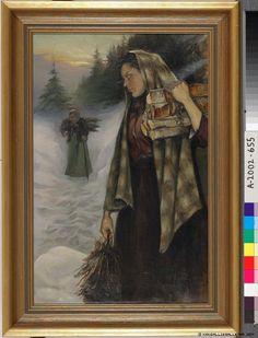 Puunkerääjät, Wood Gatherers by Helmi Biese, 1901 Finnish Women, Art Music, Finland, Literature, Helmet, Firewood, Painting, Artists, Times