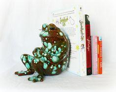 Vintage 60s Frog Bookend Ceramic Figurine from PaddywhackKnickKnack, $45.00