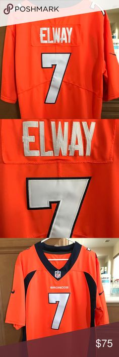New Uni-Sex Broncos Elway Football Jersey: Medium New Uni-Sex Broncos Elway #7 Football Jersey Size Medium; New without tag, never worn NFL Other