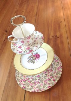 3 Tier Teacup Chintz Cake Stand for by HelensRoyalTeaHouse on Etsy, $120.00