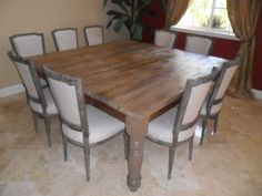 Square DINING TABLE from recycled wood USA made by Oldpine on Etsy