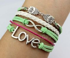 silvery love bracelet lover owl bracelet by happygarden999 on Etsy, $5.49
