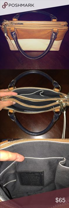 "COACH COLORBLOCK RETRO BOARSKIN LEATHER BOROUGH 100% Authentic COACH COLORBLOCK RETRO BOARSKIN LEATHER MINI BOROUGH HANDBAG. Great condition, beautiful durable leather. Scuffs at the bottom corners of the purse and one black mark on the bottom (both are in places you won't even notice, rest of the purse in great condition). Details: Boarskin-embossed cowhide| Inside open pockets| Zip-top closure, fabric lining. Handles with 4"" drop. Longer strap with 22 3/4"" drop for shoulder or crossbody…"