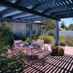 Pergolas Provide Shade -   Cast shade on a patio with a basic pergola made of 2x8 rafters topped with flat 2x4s. Pergolas are generally made from cedar wood.